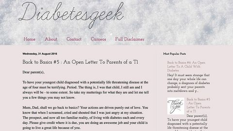 Diabetes Geek - An Open Letter To Parents of a T1