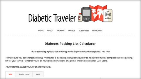 Packing List Calculator - Diabetic Traveler