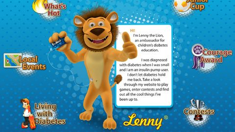 Lenny lion website including carb counting game
