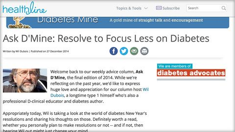 Ask D'Mine: Resolve to Focus Less on Diabetes