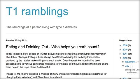 T1 ramblings - Carb counting list